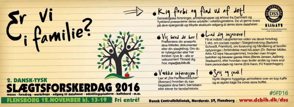 Slægtsforskerdag, 12. november 2016, Den slesvigske Samling, Flensborg.
